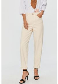 Beżowe jeansy loose fit Answear Lab wakacyjne, z podwyższonym stanem