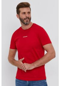 Calvin Klein Jeans - T-shirt. Okazja: na co dzień. Kolor: czerwony. Materiał: bawełna, dzianina. Wzór: gładki. Styl: casual