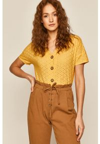 Żółta bluzka medicine casualowa, krótka, w koronkowe wzory, na co dzień