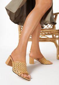 Born2be - Beżowe Klapki Aquidenah. Nosek buta: otwarty. Kolor: beżowy. Wzór: ażurowy. Sezon: lato. Obcas: na obcasie. Wysokość obcasa: średni
