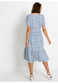 Sukienka o linii litery A bonprix lodowy niebieski - biały w kwiaty. Kolor: niebieski. Wzór: kwiaty