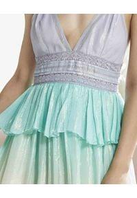 ROCOCO SAND - Pastelowa sukienka z motywem ombre. Okazja: na imprezę. Kolor: niebieski. Materiał: koronka, materiał. Długość rękawa: na ramiączkach. Wzór: aplikacja, koronka. Sezon: lato. Długość: midi