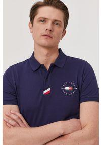 Niebieska koszulka polo TOMMY HILFIGER gładkie, polo, krótka