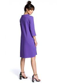 BE - Wygodna sukienka oversize z kieszeniami wiązanie fioletowa. Okazja: na co dzień. Kolor: fioletowy. Typ sukienki: oversize. Styl: casual