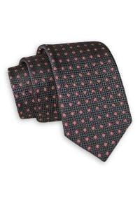 Szary Elegancki Krawat -Angelo di Monti- 6 cm, Męski, Wzór Geometryczny, w Kropki. Kolor: szary. Wzór: geometria. Styl: elegancki