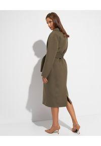 EMMA & GAIA - Wełniany płaszcz z wiązaniem. Kolor: zielony. Materiał: wełna. Styl: klasyczny