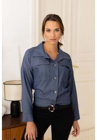 Nommo - Koszula Damska z Naszywanymi Kieszeniami - Ciemny Jeans. Materiał: jeans