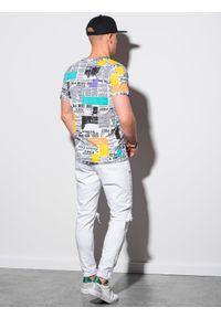 Ombre Clothing - T-shirt męski z nadrukiem S1409 - biały - XXL. Kolor: biały. Materiał: bawełna, poliester. Wzór: nadruk. Sezon: lato, wiosna