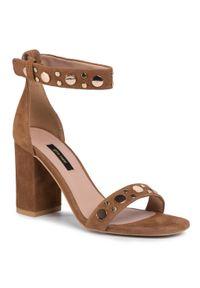 Brązowe sandały Gino Rossi eleganckie, z aplikacjami