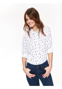 TOP SECRET - Koszula długi rękaw damska z nadrukiem. Okazja: do pracy. Kolor: biały. Długość rękawa: długi rękaw, krótki rękaw. Długość: długie. Wzór: nadruk. Styl: wizytowy, klasyczny, elegancki