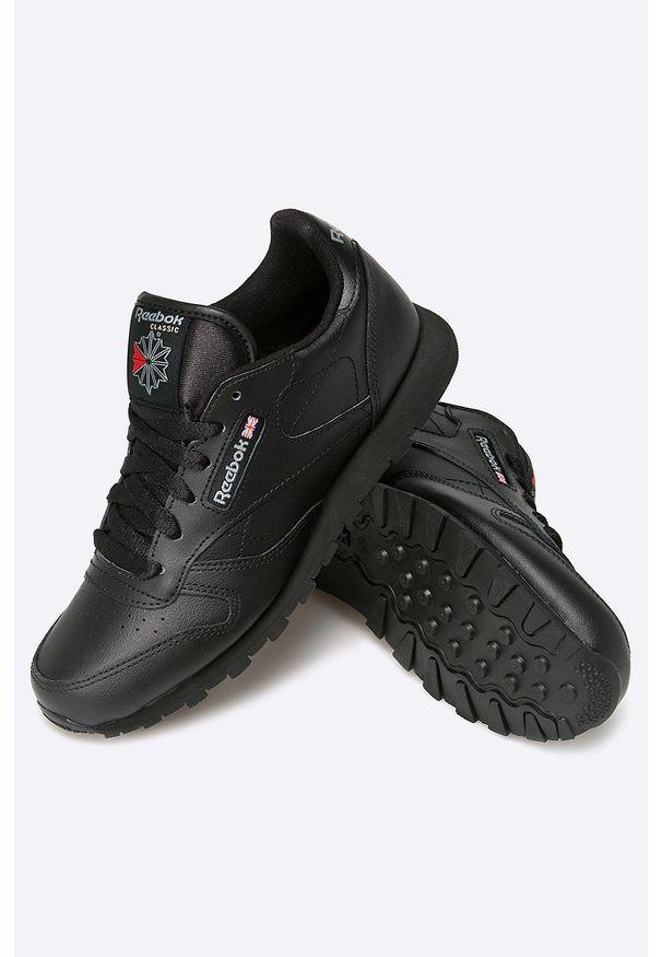 Czarne buty sportowe Reebok Classic z cholewką, z okrągłym noskiem, Reebok Classic