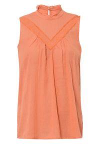 Bluzka bez rękawów z koronką bonprix matowy mandarynkowy. Kolor: pomarańczowy. Materiał: koronka. Długość rękawa: bez rękawów. Wzór: koronka