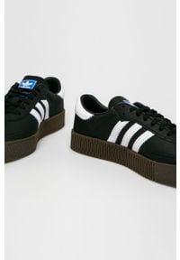 Czarne buty sportowe adidas Originals na sznurówki, z cholewką, na średnim obcasie, z okrągłym noskiem