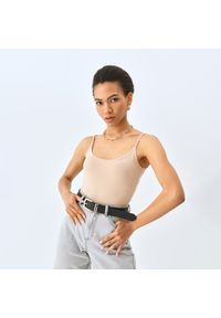 Mohito - Body na ramiączkach - Beżowy. Kolor: beżowy. Długość rękawa: na ramiączkach