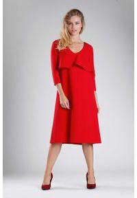 Czerwona sukienka wizytowa Nommo z dekoltem w serek