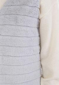 Born2be - Szara Kamizelka Melis. Typ kołnierza: dekolt w serek. Kolor: szary. Materiał: jeans, futro, materiał. Wzór: aplikacja #2