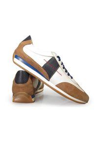 Faber - Biało-beżowo-granatowe obuwie sportowe T133. Kolor: niebieski, beżowy, biały, wielokolorowy. Materiał: skóra. Styl: sportowy