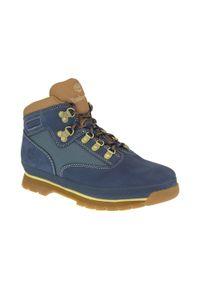 Niebieskie buty trekkingowe Timberland w kolorowe wzory, na zimę