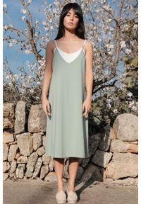 MOE - Bawełniana Sukienka na Ramiączkach - Pistacjowa. Kolor: zielony. Materiał: bawełna. Długość rękawa: na ramiączkach