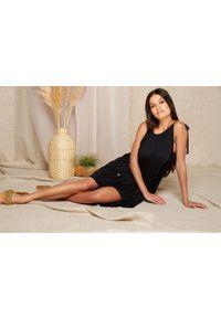 e-margeritka - Sukienka maxi wiskozowa z falbanami na ramiączkach - czarny, l/xl. Kolor: czarny, niebieski. Materiał: wiskoza. Długość rękawa: na ramiączkach. Typ sukienki: asymetryczne. Styl: wakacyjny. Długość: maxi