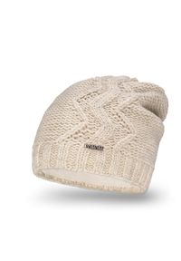 Beżowa czapka zimowa PaMaMi w prążki