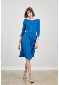 Marie Zélie - Sukienka Limosa ciemnoniebieska. Kolor: niebieski. Materiał: wiskoza, dzianina, materiał, elastan. Długość: midi