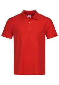 Czerwony t-shirt Stedman z krótkim rękawem, casualowy, krótki
