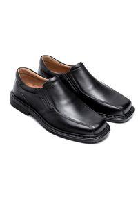 ESCOTT - Mokasyny męskie Escott 875 Czarne. Zapięcie: bez zapięcia. Kolor: czarny. Materiał: tworzywo sztuczne, skóra. Obcas: na obcasie. Styl: elegancki. Wysokość obcasa: średni #3
