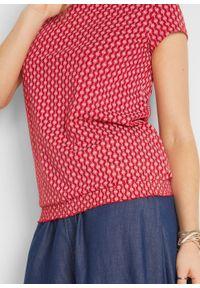 Shirt z nadrukiem i minirękawkami, w kompl. 2-częściowym bonprix biały + czerwony wzorzysty. Kolor: biały. Wzór: nadruk