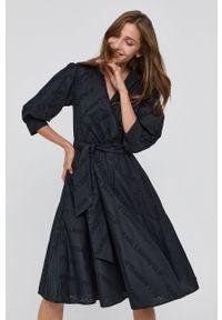 Karl Lagerfeld - Sukienka bawełniana. Kolor: czarny. Materiał: bawełna. Typ sukienki: rozkloszowane