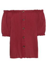 Czerwona bluzka bonprix na lato, z kołnierzem typu carmen