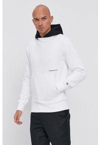 Calvin Klein Jeans - Bluza bawełniana. Okazja: na co dzień. Typ kołnierza: kaptur. Kolor: biały. Materiał: bawełna. Styl: casual