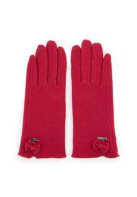 Czerwone rękawiczki Wittchen na zimę, z aplikacjami