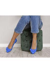 Zapato - balerinki z kokardką - skóra naturalna - model 048 - kolor niebieski matowy. Zapięcie: bez zapięcia. Kolor: niebieski. Materiał: skóra. Wzór: motyw zwierzęcy, kwiaty, kolorowy. Obcas: na obcasie. Styl: klasyczny. Wysokość obcasa: średni
