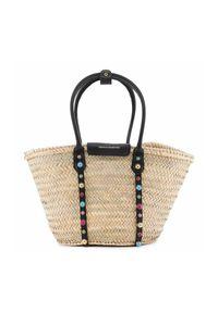 SOPHIA WEBSTER - Pleciona torba tote Dina. Kolor: czarny. Wzór: aplikacja, paski, kolorowy. Rodzaj torebki: do ręki