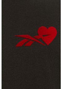 Czarna bluzka Reebok Classic casualowa, z nadrukiem, na co dzień