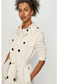 Biały płaszcz Calvin Klein gładki, na co dzień, casualowy, raglanowy rękaw