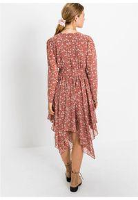 Czerwona sukienka bonprix w kwiaty, z długim rękawem