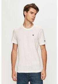 Biały t-shirt Champion casualowy, z aplikacjami, z okrągłym kołnierzem