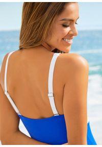 Niebieski strój kąpielowy jednoczęściowy bonprix z wyjmowanymi miseczkami