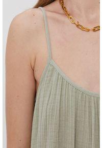 Vero Moda - Sukienka bawełniana. Kolor: zielony. Materiał: bawełna. Długość rękawa: na ramiączkach. Typ sukienki: rozkloszowane
