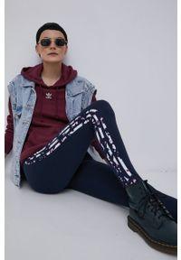 adidas Originals - Legginsy. Stan: podwyższony. Kolor: niebieski. Materiał: bawełna, dzianina