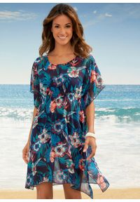 Niebieska tunika bonprix długa, na plażę, w kwiaty