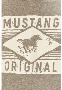 Szary t-shirt Mustang na co dzień, casualowy