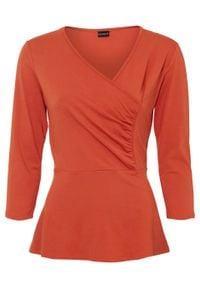 Shirt kopertowy bonprix pomarańczowy. Kolor: pomarańczowy