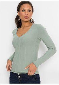 Zielona bluzka bonprix długa, w prążki, z długim rękawem