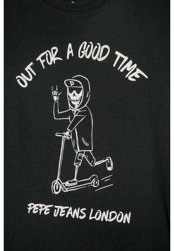 Czarny t-shirt Pepe Jeans z nadrukiem, casualowy, z okrągłym kołnierzem, na co dzień