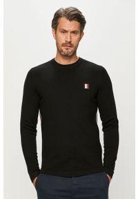 Czarny sweter TOMMY HILFIGER z okrągłym kołnierzem, długi, z długim rękawem