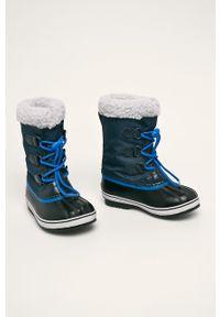 Niebieskie buty zimowe sorel z cholewką, z okrągłym noskiem