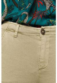 Miętowe spodnie materiałowe medicine z podwyższonym stanem